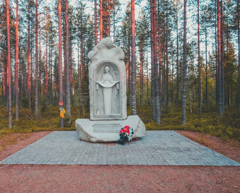 Finland Suomussalmi, för minnet av 44th ukrainska uppdelning som, var stoppat i strid 1939 av den Raatteen vägen arkivfoton