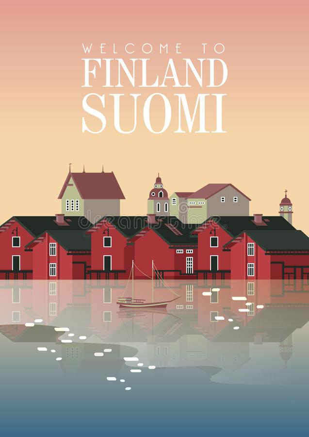 Free Finland. Travel Poster. Welcome To Suomi. Nordic Background Royalty Free Stock Photos - 161150828