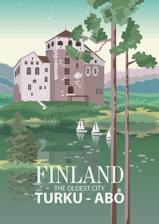 Free Finland. Travel Poster. Welcome To Suomi. Turku Is The Oldest City Stock Photos - 161150833