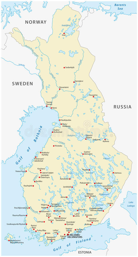 Finland vektoröversikt stock illustrationer