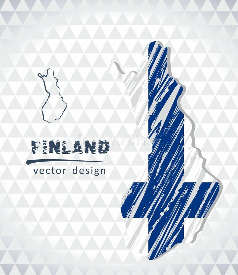 Finland vektoröversikt med flaggainsidan som isoleras på en vit bakgrund Skissa drog illustrationen för krita handen royaltyfri illustrationer