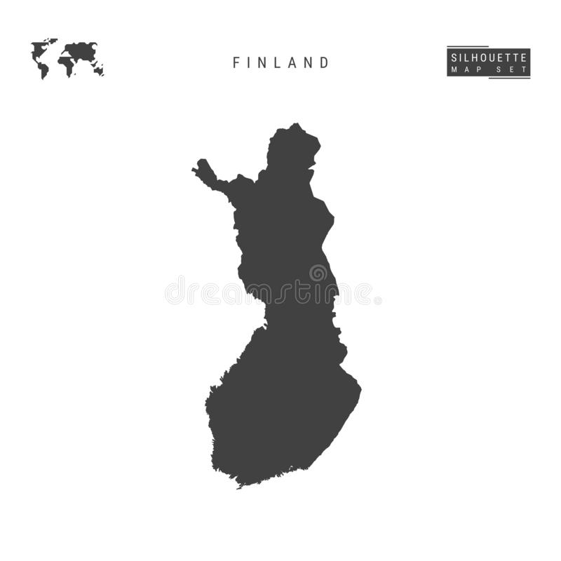 Finland vektoröversikt som isoleras på vit bakgrund Hög-specificerad svart konturöversikt av Finland stock illustrationer