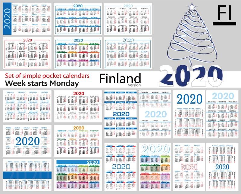 Finlandia ajustou-se de calendários do bolso para 2020 ilustração stock