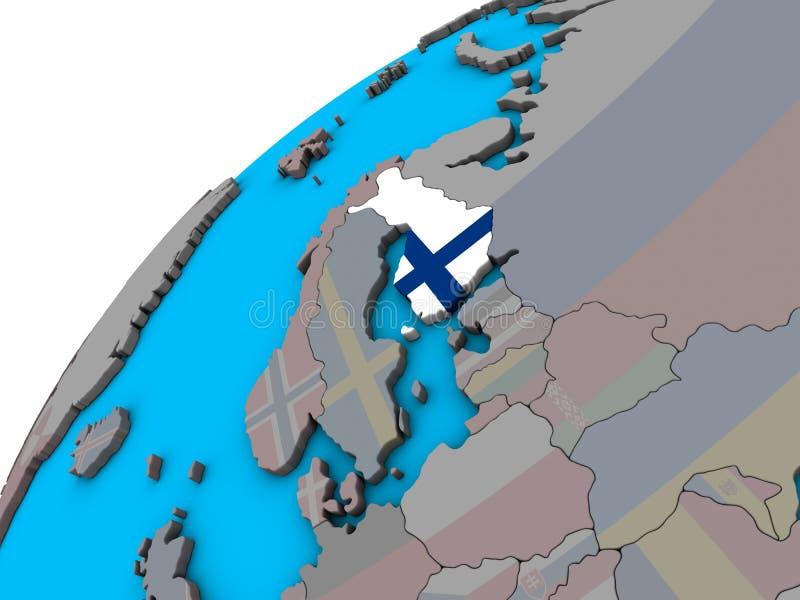 Finlandia com a bandeira no globo 3D ilustração do vetor