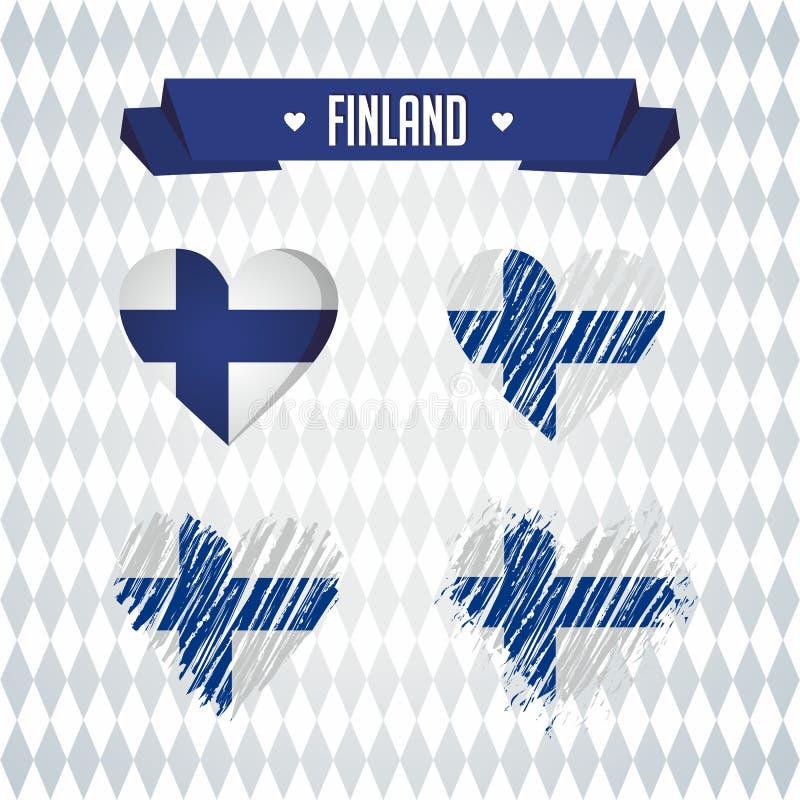 Finlandia con amor Corazón quebrado del vector del diseño con la bandera dentro stock de ilustración