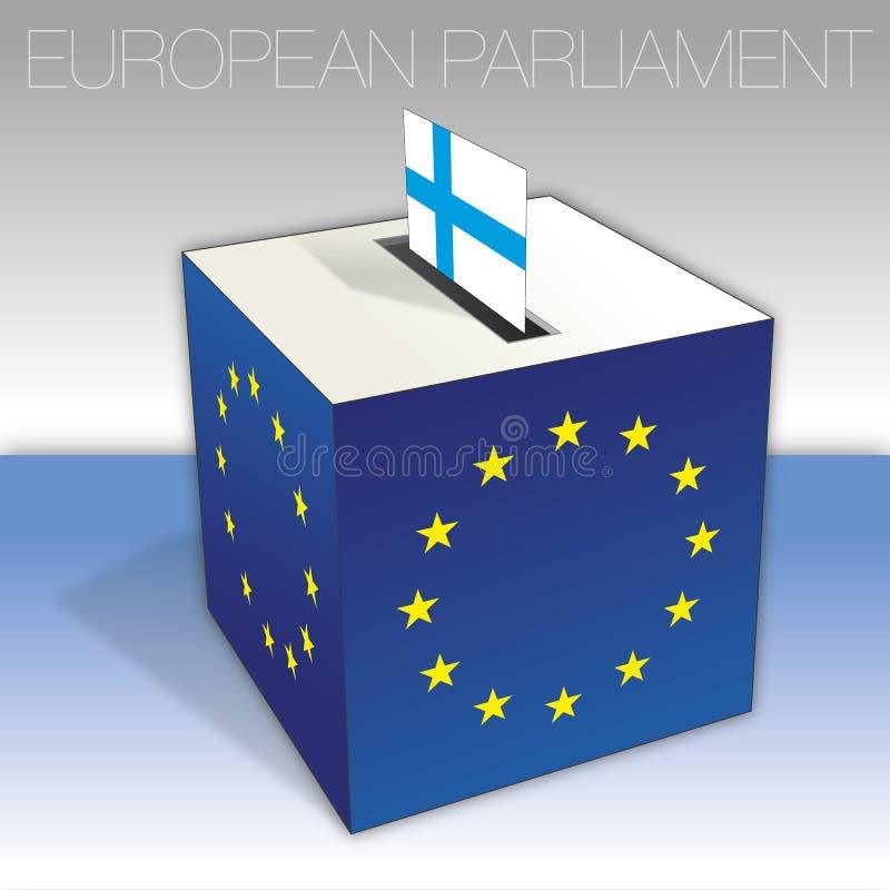 Finlandia, eleições do Parlamento Europeu, urna de voto e bandeira ilustração stock