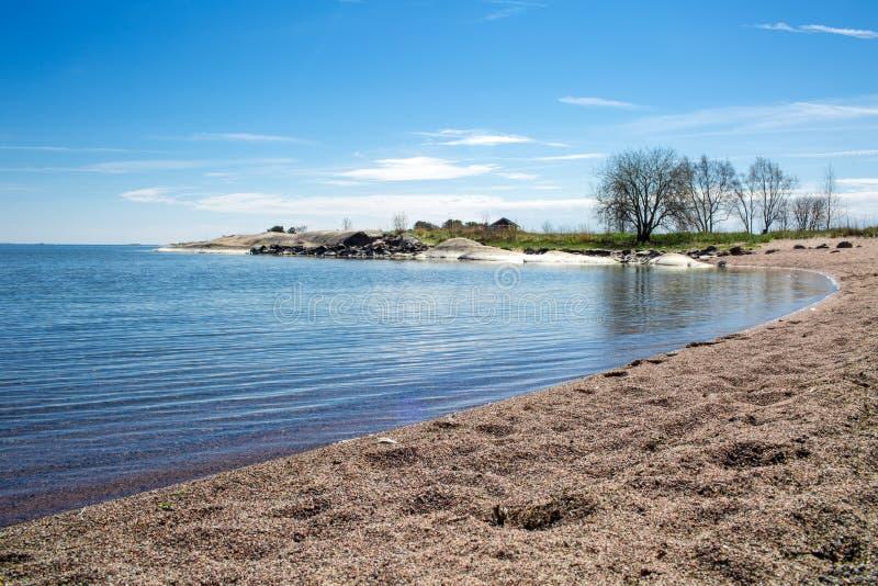 Finlandia, Hanko wczesne lato Sceniczny widok morze bałtyckie i błękit, zdjęcia royalty free