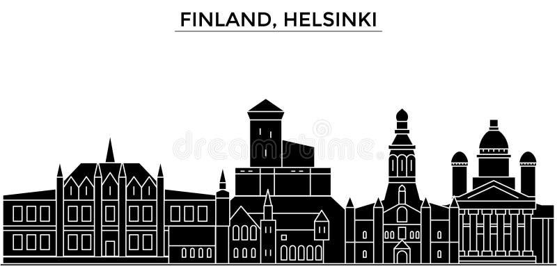 Finlandia, Helsinki architektury miasto wektorowa linia horyzontu, podróż pejzaż miejski z punktami zwrotnymi, budynki, odosobnen ilustracja wektor