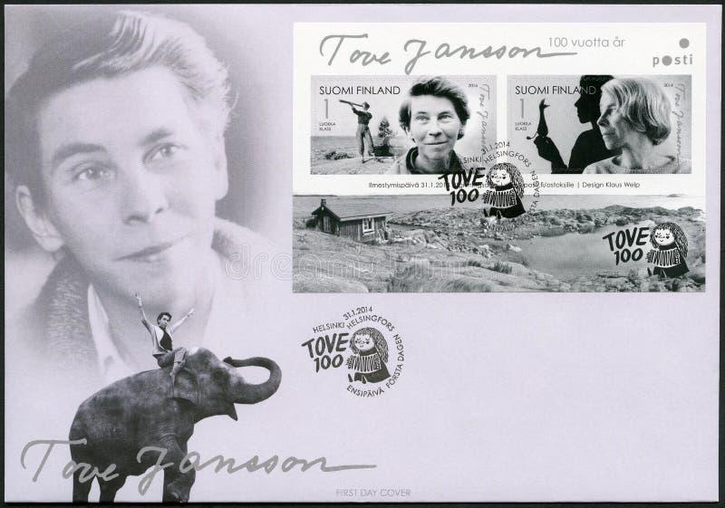 FINLANDIA - 2014: mostras Tove Jansson 1914-2001, escritor finlandês, pintor, aniversário do nascimento do século fotografia de stock