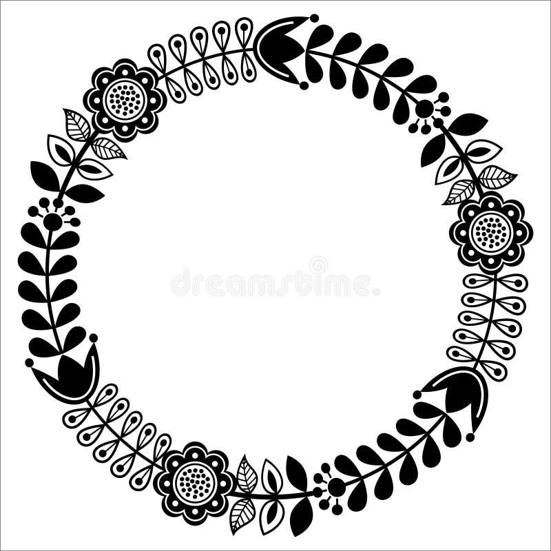 Finlandssvensk blom- folkkonstrundamodell - svart design, nordbo, skandinavisk stil vektor illustrationer