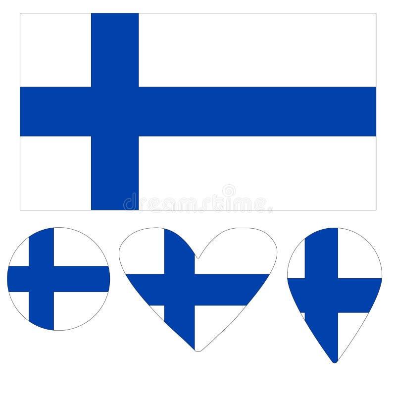 Finlandssvensk flaggahjärta för symboler, pekare, boll stock illustrationer