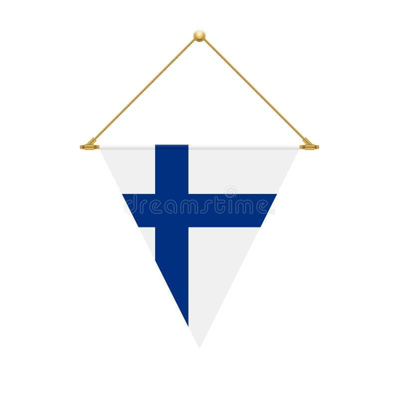 Finlandssvensk triangelflagga som hänger, illustration stock illustrationer