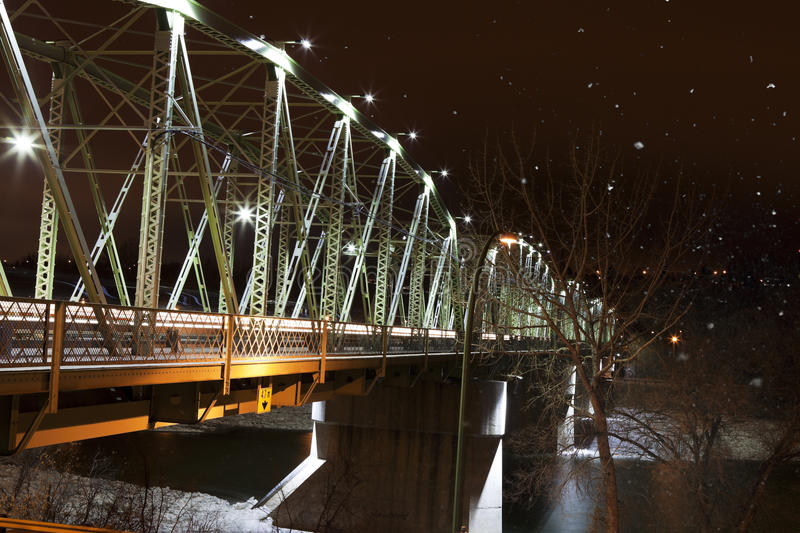 Download Finlay Bridge On A Snowy Night Stock Image - Image of night, streaks: 28050849