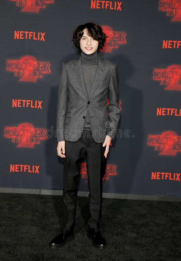 Finn Wolfhard. At the Netflix`s season 2 premiere of `Stranger Things` held at the Regency Village Theatre in Westwood, USA on October 26, 2017 royalty free stock photography