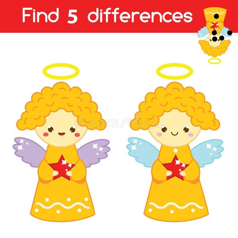 Finna den bildande barnleken för skillnader Ungeaktivitetsark med änglar Jul tema för nytt år stock illustrationer