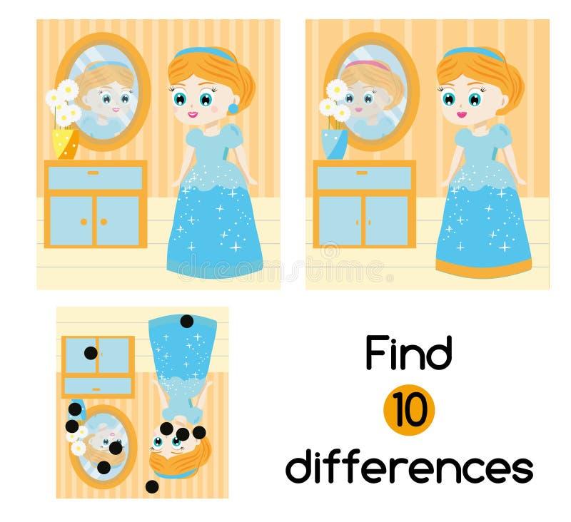 Finna den bildande barnleken för skillnader Ungeaktivitetsark med den härliga flickaprinsessan royaltyfri illustrationer