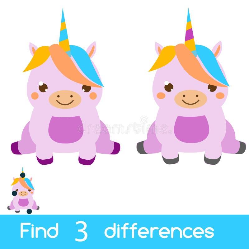 Finna den bildande barnleken för skillnader Ungeaktivitetsark med den gulliga enhörningen royaltyfri illustrationer