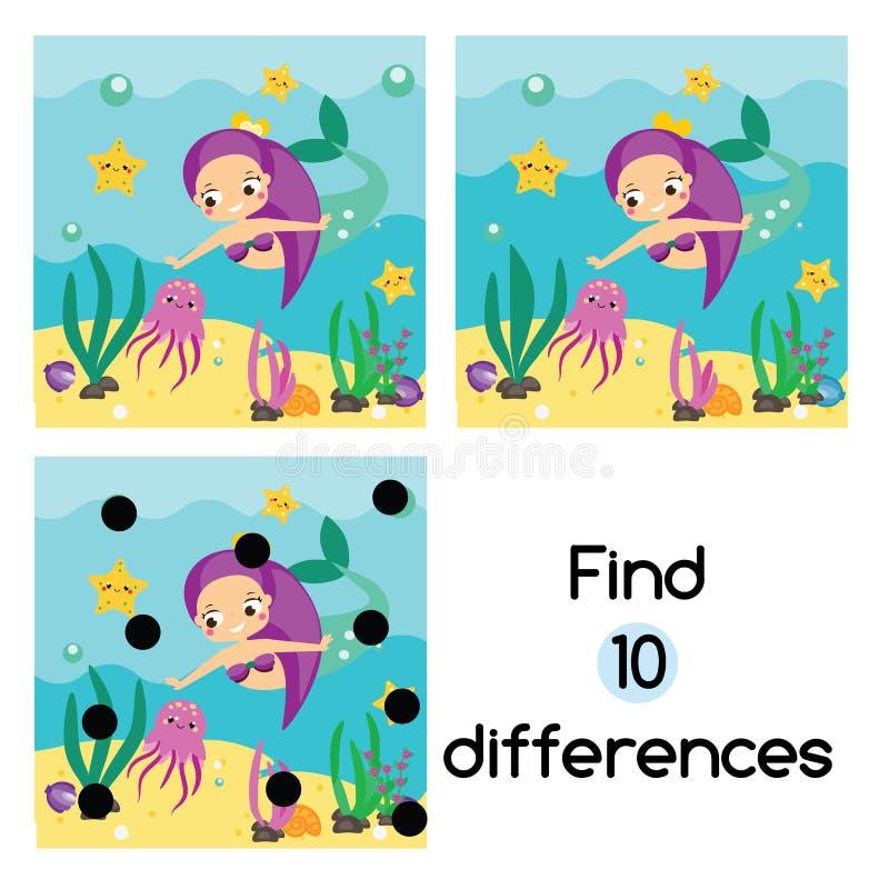 Finna den bildande barnleken för skillnader Ungeaktivitetsark med den undervattens- gulliga sjöjungfrun vektor illustrationer
