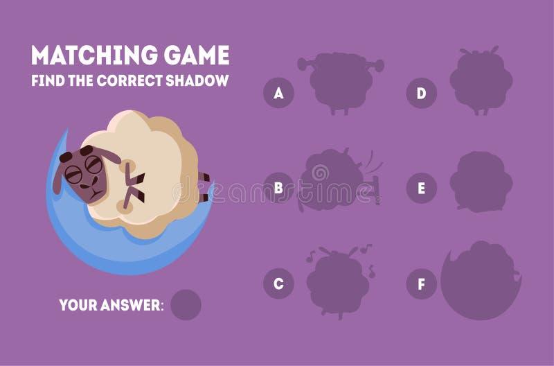 Finna den bildande leken för korrekt skugga för ungevektorillustration, matcha leken med gulliga sova får royaltyfri illustrationer