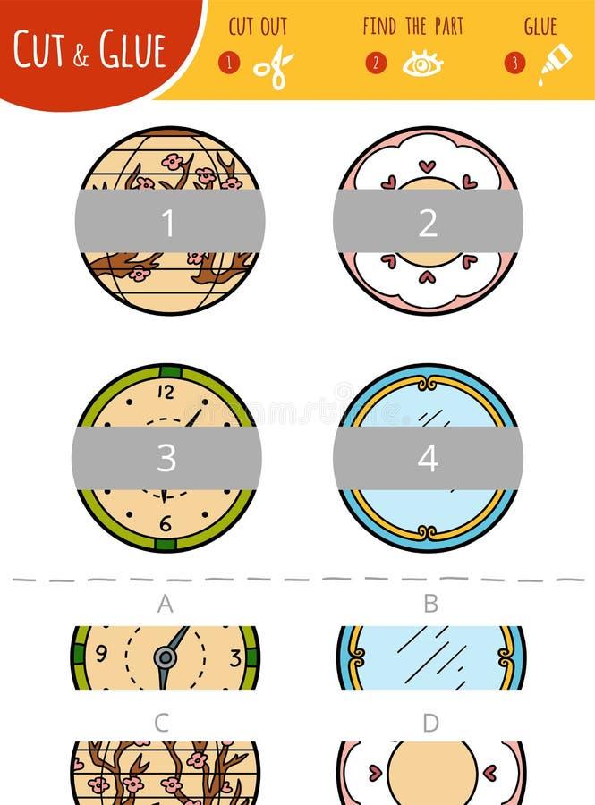 Finna den högra delen Klipp och limleken för barn cirklar stock illustrationer