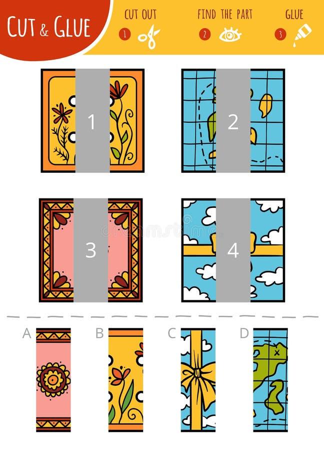 Finna den högra delen Klipp och limleken för barn fyrkanter royaltyfri illustrationer