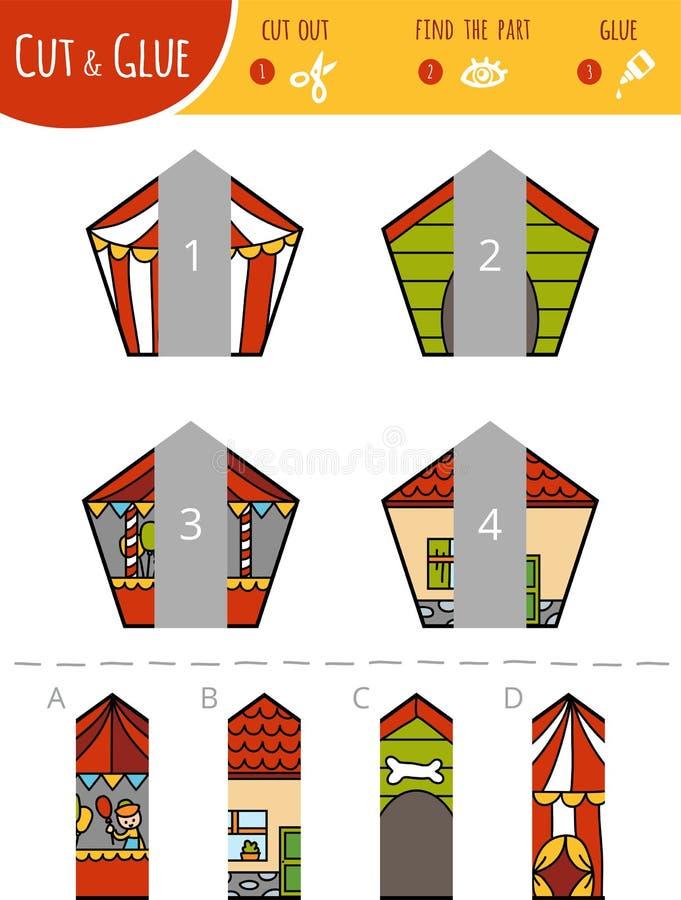 Finna den högra delen Klipp och limleken för barn pentagons royaltyfri illustrationer