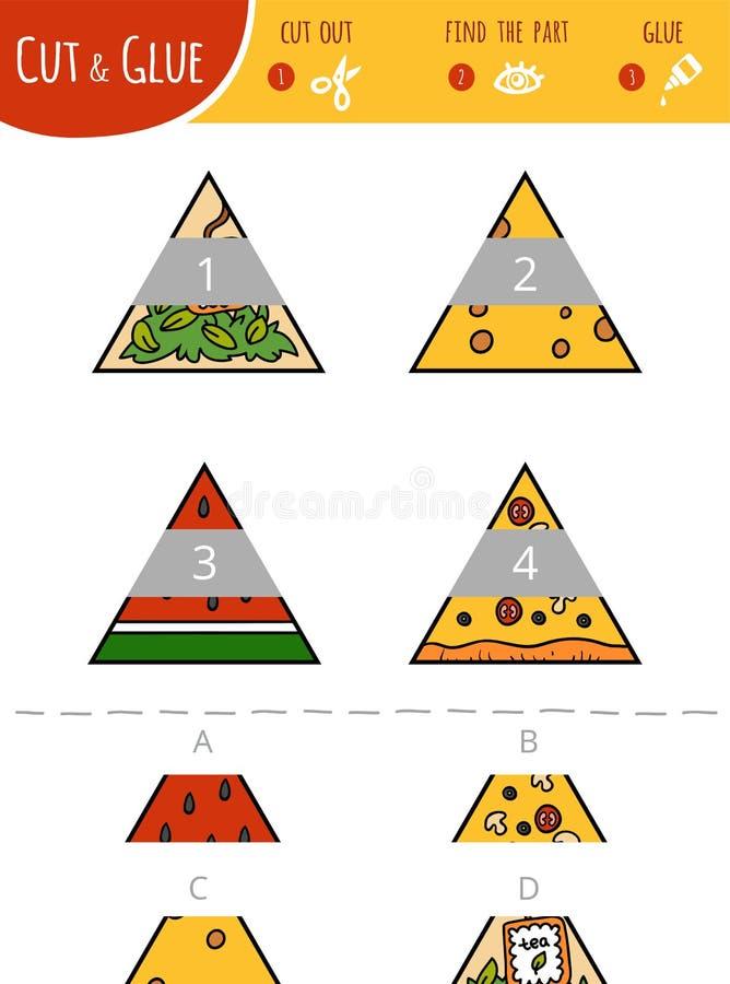 Finna den högra delen Klipp och limleken för barn trianglar royaltyfri illustrationer