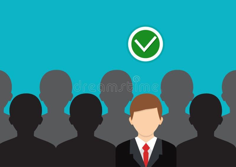Finna den högra personen Begrepp av jobbet, personalresurs stock illustrationer