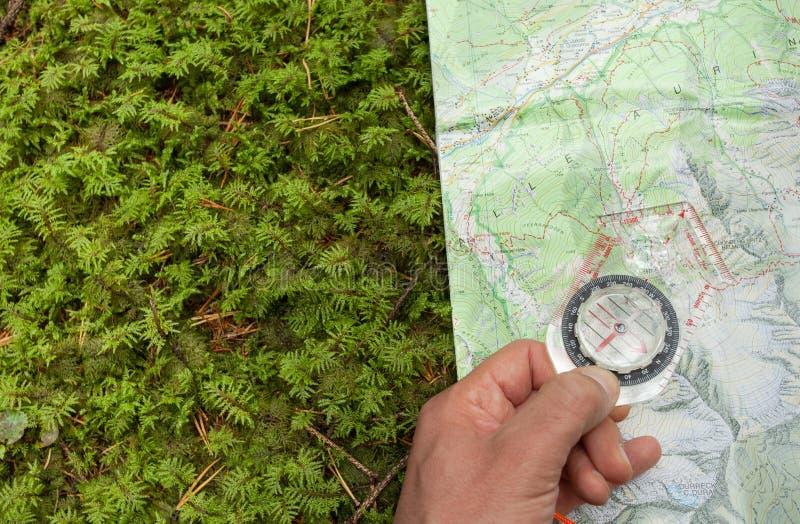 finna den högra positionen i skogen med en kompass royaltyfri fotografi
