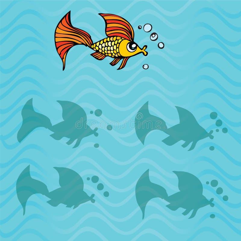 Finna den högra skuggan av fisken vektor illustrationer