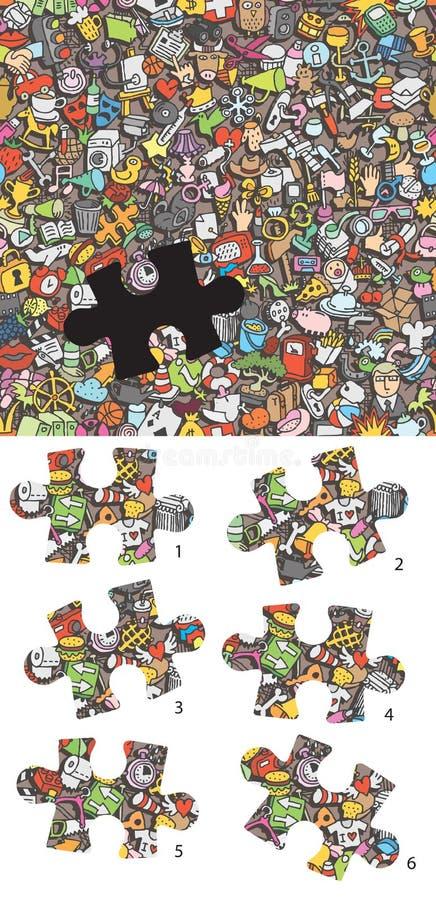 Finna den högra styckvisuellt hjälpmedelleken Lösning i gömt lager! stock illustrationer