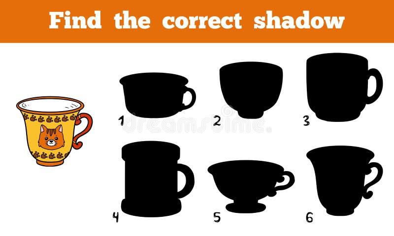 Finna den korrekta skuggan, kopp vektor illustrationer