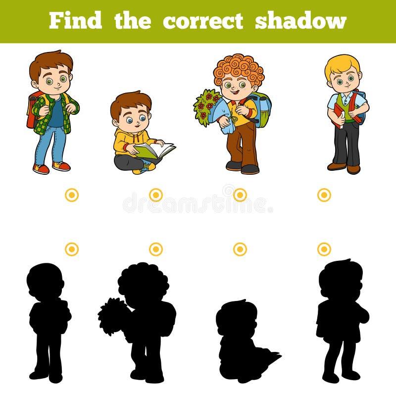 Finna den korrekta skuggan, leken för barn, skolbarn vektor illustrationer