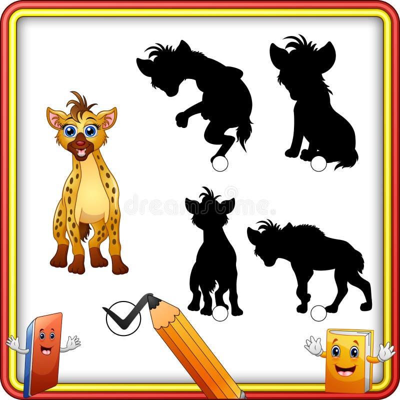 Finna den korrekta skuggan Rolig hyena för tecknad film Utbildningslek för barn royaltyfri illustrationer