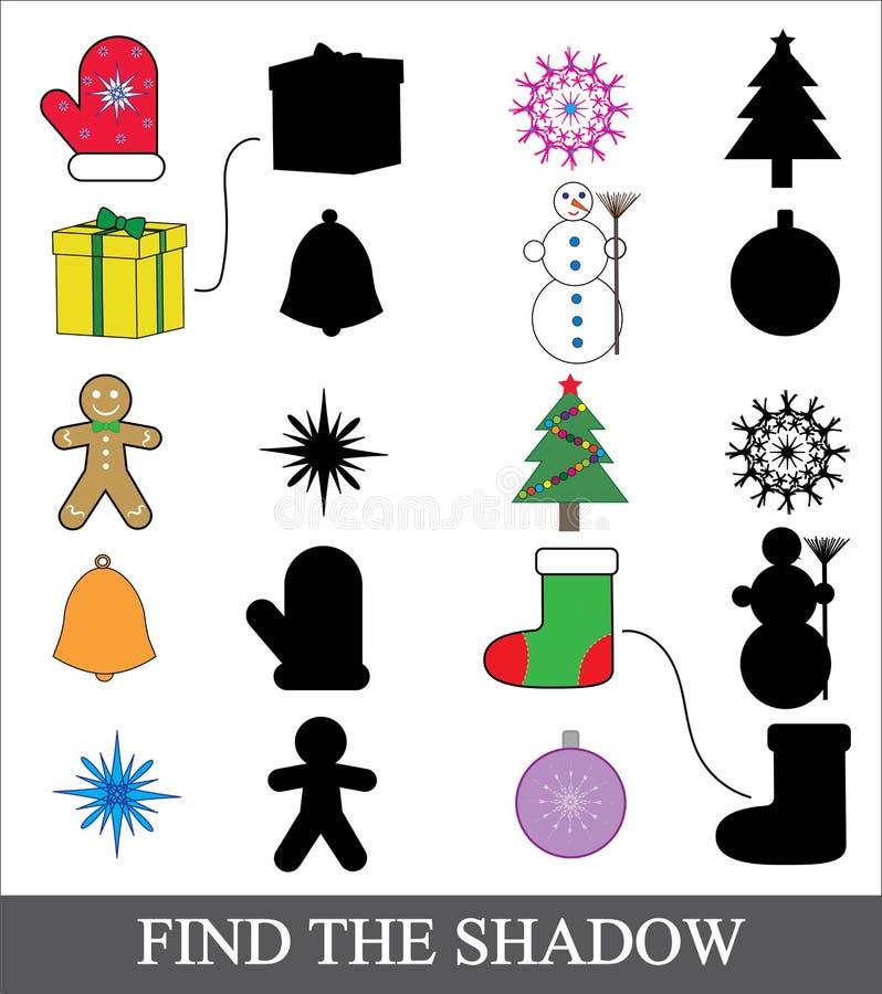 Finna den korrekta skuggan Skugga som matchar leken för barn Symboler för nytt år för jul royaltyfri illustrationer