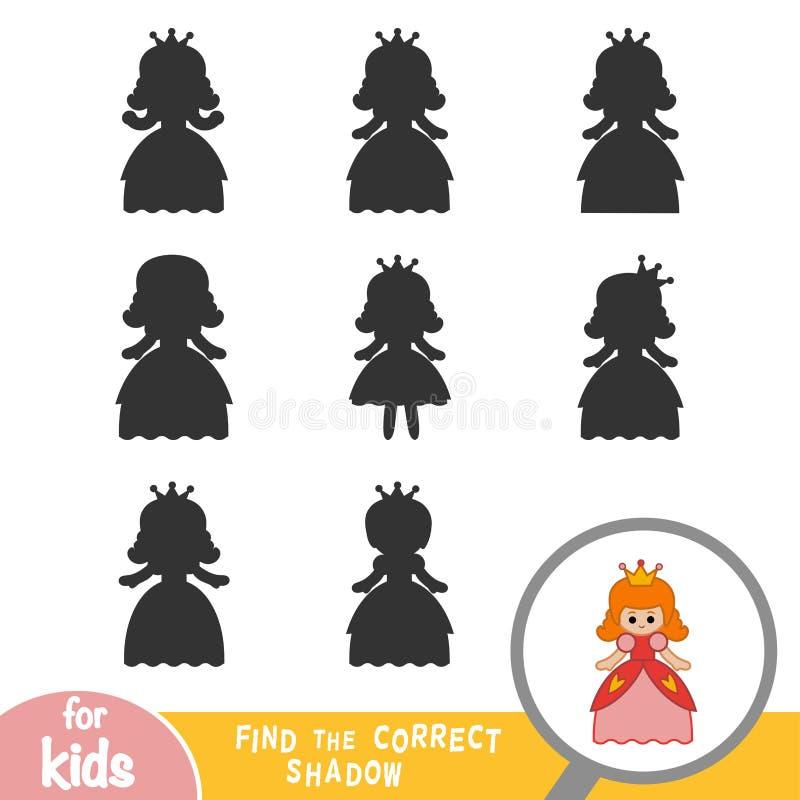 Finna den korrekta skuggan, spela för barn, prinsessa royaltyfri illustrationer