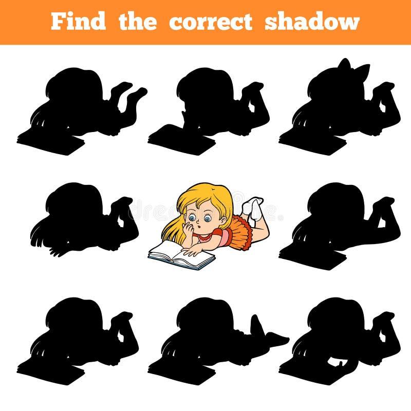 Finna den korrekta skuggan, unga flickan som läser en bok stock illustrationer