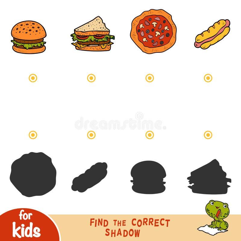 Finna den korrekta skuggan, utbildningslek Uppsättning av mat royaltyfri illustrationer