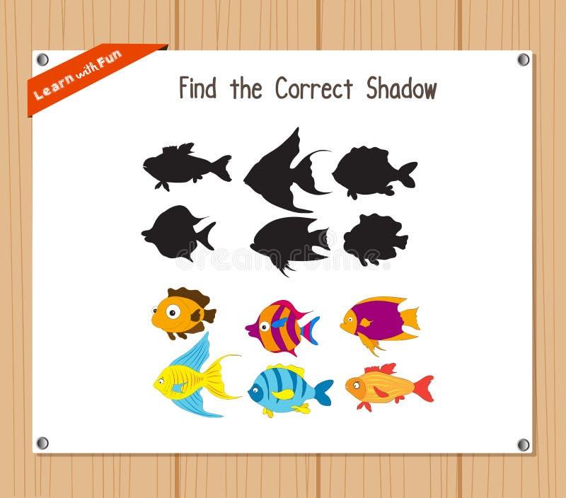 Finna den korrekta skuggan, utbildningsleken för barn - fisk royaltyfri illustrationer
