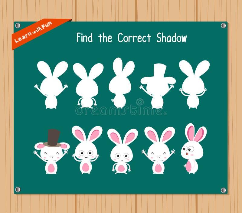 Finna den korrekta skuggan, utbildningsleken för barn - kanin stock illustrationer