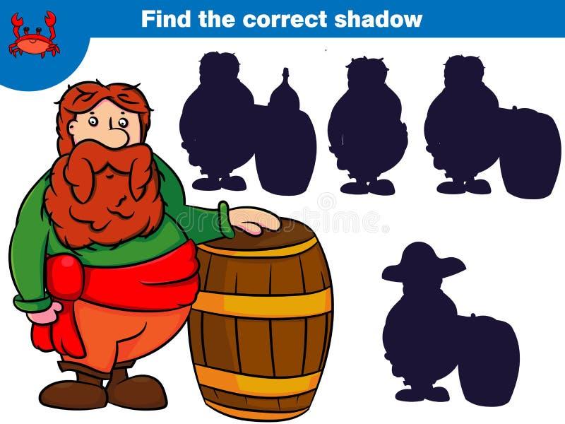 Finna den korrekta skuggan, utbildningsleken för barn ställer in av tecknad film piratkopierar tecken också vektor för coreldrawi royaltyfri illustrationer