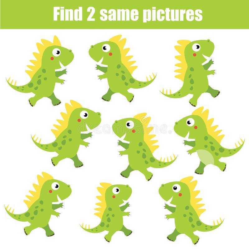 Finna den samma bildande leken för bildbarn Djurtema, gröna dinosaurier royaltyfri illustrationer