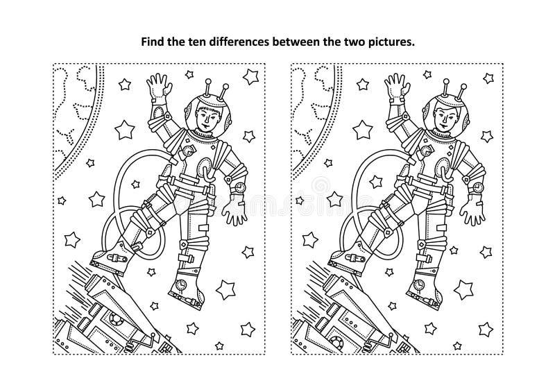 Finna den visuella pussel- och färgläggningsidan för skillnader med astronautet eller kosmonautet royaltyfri illustrationer