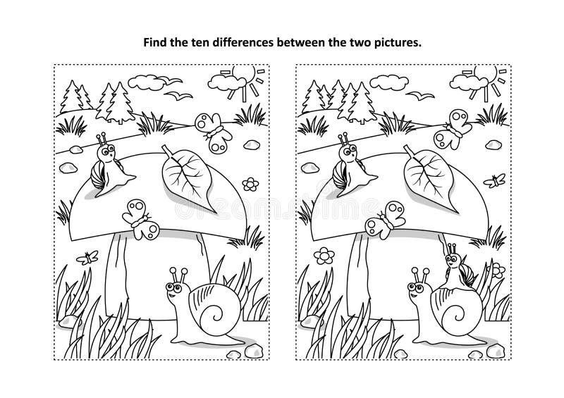 Finna den visuella pussel- och färgläggningsidan för skillnader med champinjonen och sniglar vektor illustrationer