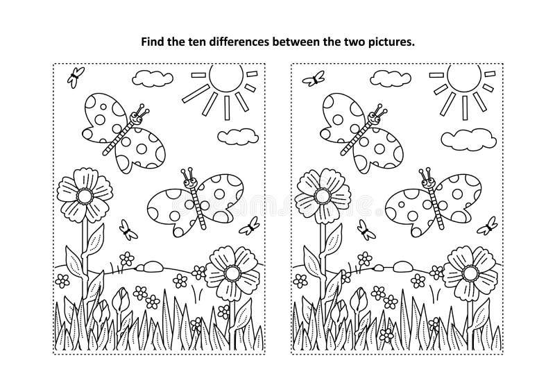 Finna den visuella pussel- och färgläggningsidan för skillnader med fjärilar stock illustrationer