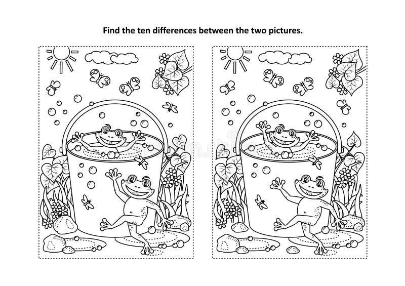 Finna den visuella pussel- och färgläggningsidan för skillnader med grodor i en hink stock illustrationer
