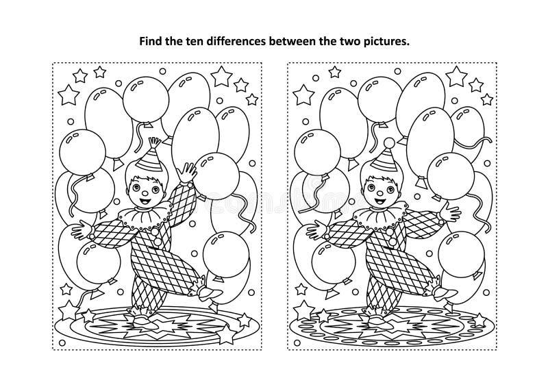 Finna den visuella pussel- och färgläggningsidan för skillnader med den lilla clownen royaltyfri illustrationer