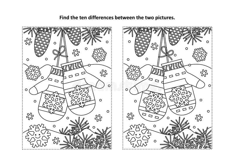 Finna den visuella pussel- och färgläggningsidan för skillnader med tumvanten för jultomten` s royaltyfri illustrationer