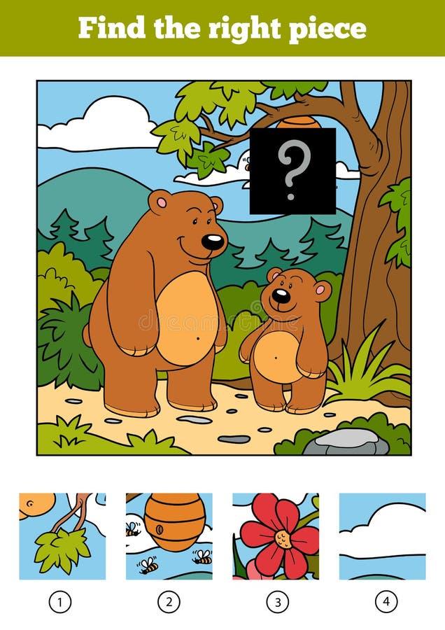 Finna det högra stycket, leken för barn Björnar och bakgrund vektor illustrationer