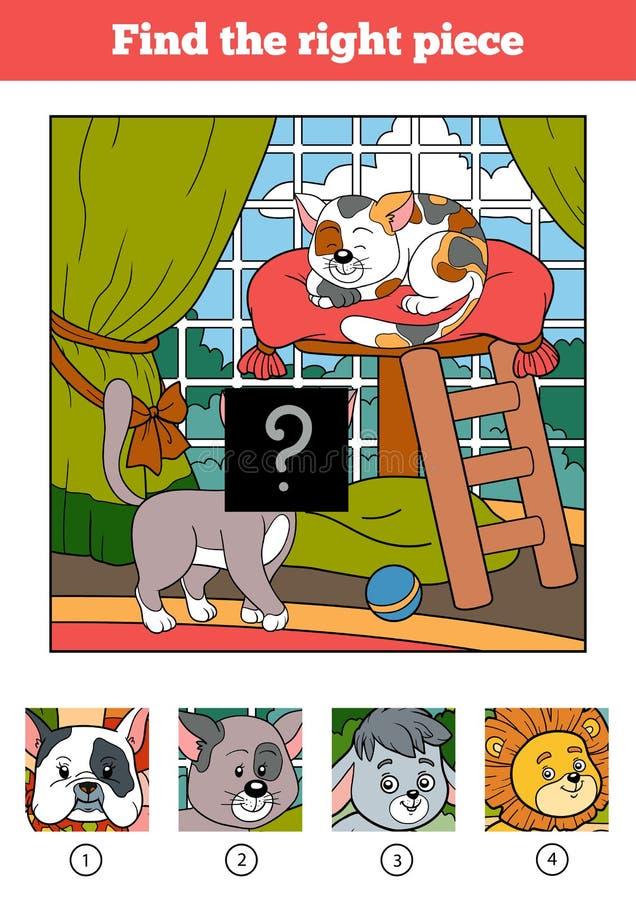 Finna det högra stycket, leken för barn katter två vektor illustrationer